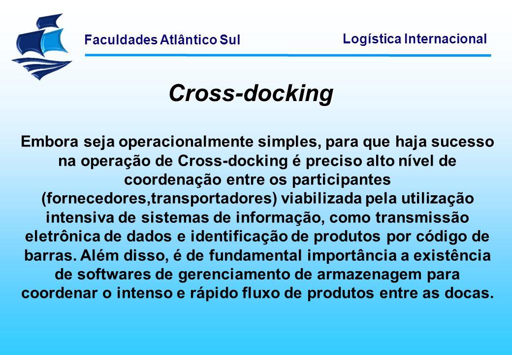 Faculdades Atlântico Sul Logística Internacional Cross-docking Embora seja operacionalmente simples, para que haja sucesso na operação de Cross-dockin