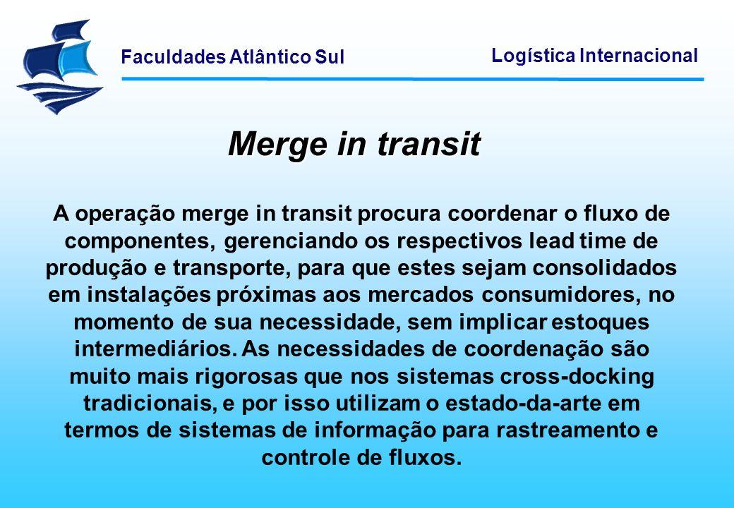 Faculdades Atlântico Sul Logística Internacional Merge in transit A operação merge in transit procura coordenar o fluxo de componentes, gerenciando os