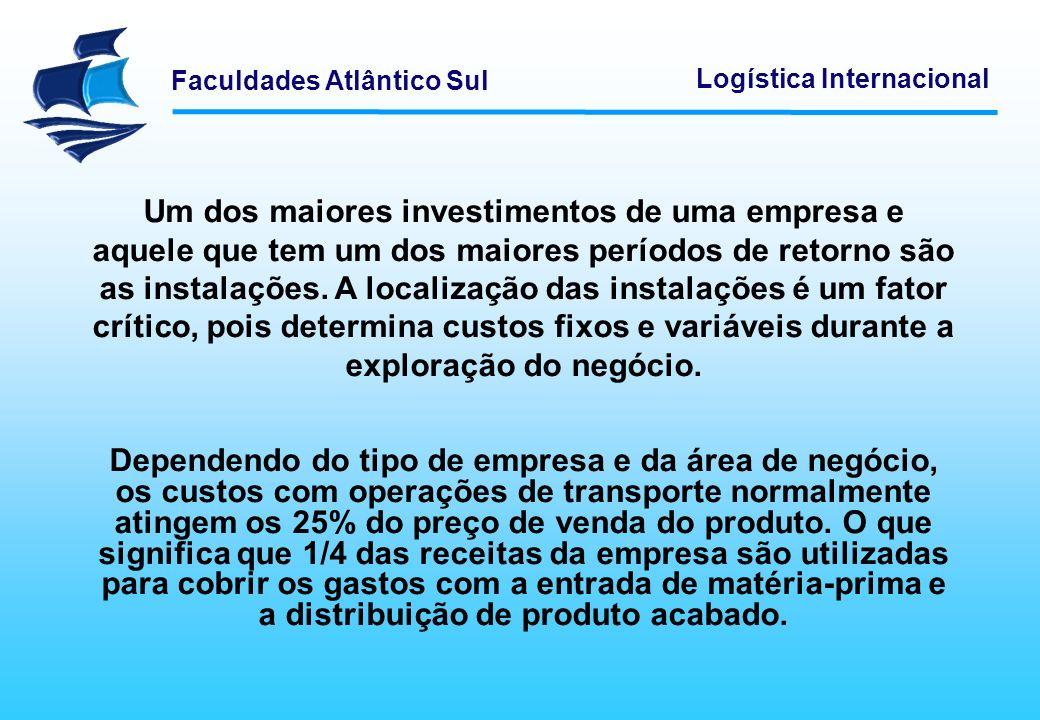 Faculdades Atlântico Sul Logística Internacional Um dos maiores investimentos de uma empresa e aquele que tem um dos maiores períodos de retorno são a