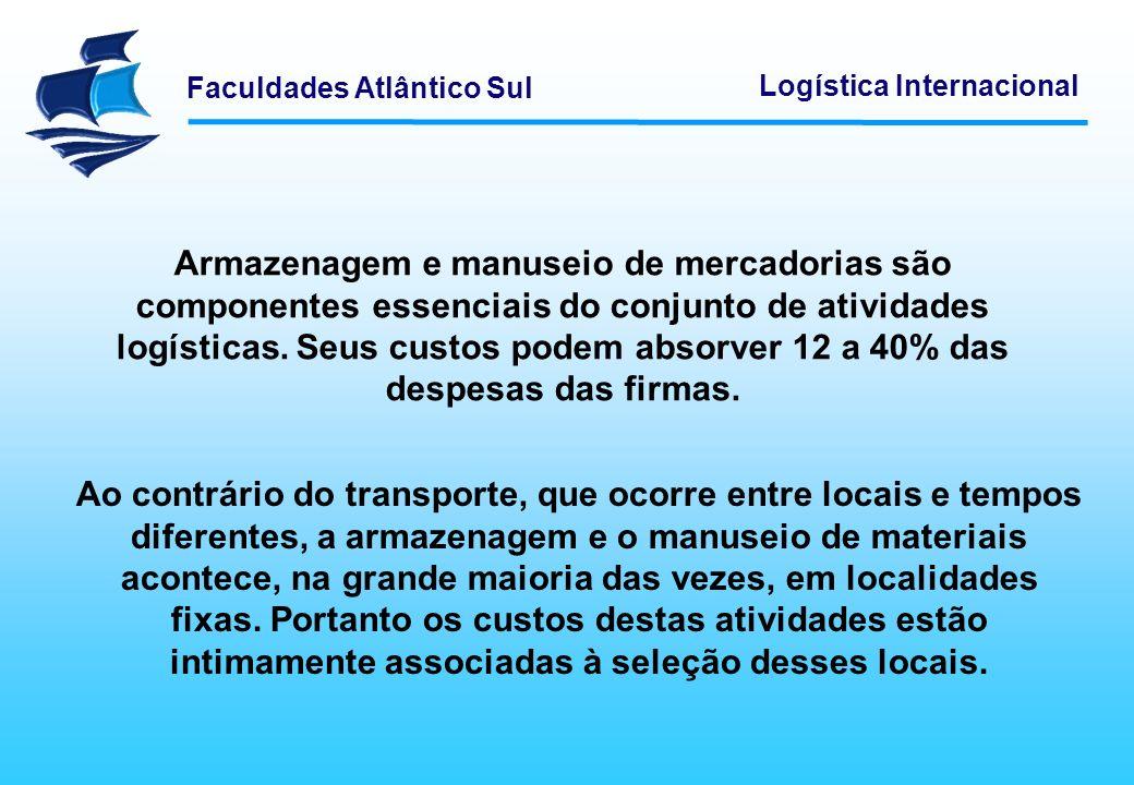 Faculdades Atlântico Sul Logística Internacional Armazenagem e manuseio de mercadorias são componentes essenciais do conjunto de atividades logísticas