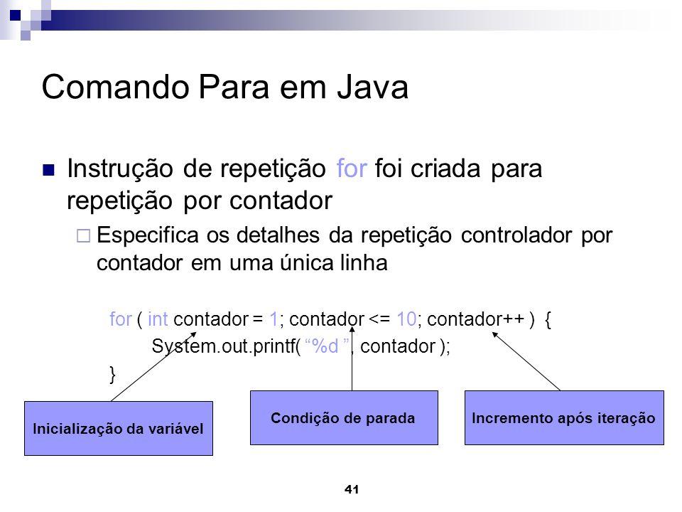 41 Comando Para em Java Instrução de repetição for foi criada para repetição por contador Especifica os detalhes da repetição controlador por contador