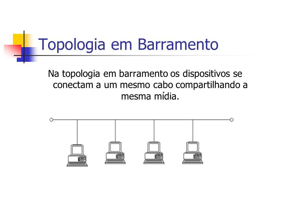 Topologia em Barramento Na topologia em barramento os dispositivos se conectam a um mesmo cabo compartilhando a mesma mídia.