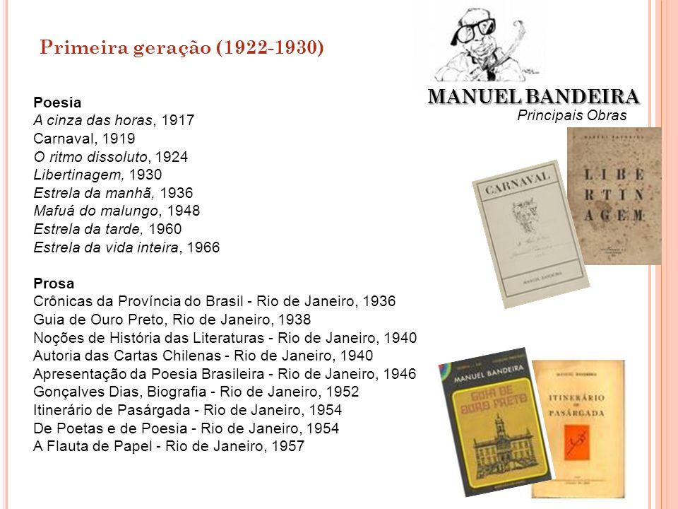 Primeira geração (1922-1930) MANUEL BANDEIRA Principais Obras Poesia A cinza das horas, 1917 Carnaval, 1919 O ritmo dissoluto, 1924 Libertinagem, 1930
