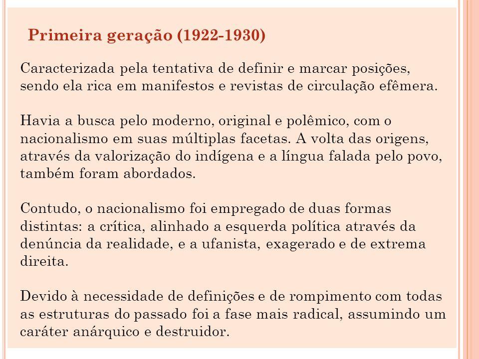 Principais Manifestos e Revistas Revista Klaxon - Mensário de Arte Moderna (1922-1923) Manifesto da Poesia Pau-Brasil (1924-1925) A Revista (1925-1926) Verde-Amarelismo (1926-1929) Manifesto Regionalista de 1926 Revista Antropofagia (1928-1929) Surgida como conseqüência do Manifesto Antropófago escrito por Oswald de Andrade Seu nome origina-se da tela Abaporu (O que come) De Tarsila do Amaral