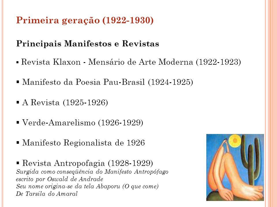 Principais Manifestos e Revistas Revista Klaxon - Mensário de Arte Moderna (1922-1923) Manifesto da Poesia Pau-Brasil (1924-1925) A Revista (1925-1926