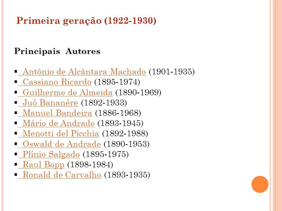 Primeira geração (1922-1930) Principais Autores Antônio de Alcântara Machado (1901-1935) Antônio de Alcântara Machado Cassiano Ricardo (1895-1974) Cas