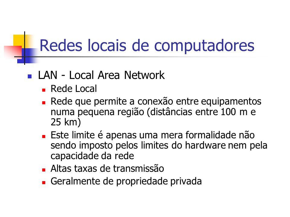 Redes locais de computadores LAN - Local Area Network Rede Local Rede que permite a conexão entre equipamentos numa pequena região (distâncias entre 1