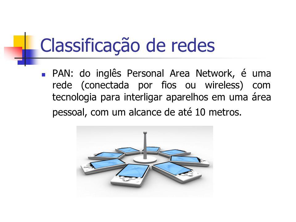 Classificação de redes PAN: do inglês Personal Area Network, é uma rede (conectada por fios ou wireless) com tecnologia para interligar aparelhos em u