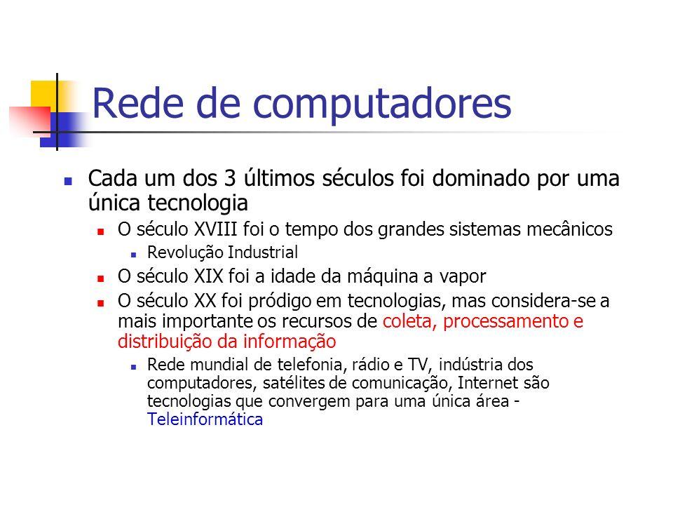 Rede de computadores Cada um dos 3 últimos séculos foi dominado por uma única tecnologia O século XVIII foi o tempo dos grandes sistemas mecânicos Rev