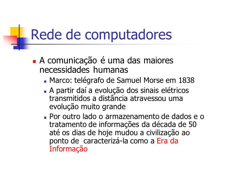 Rede de computadores A comunicação é uma das maiores necessidades humanas Marco: telégrafo de Samuel Morse em 1838 A partir daí a evolução dos sinais