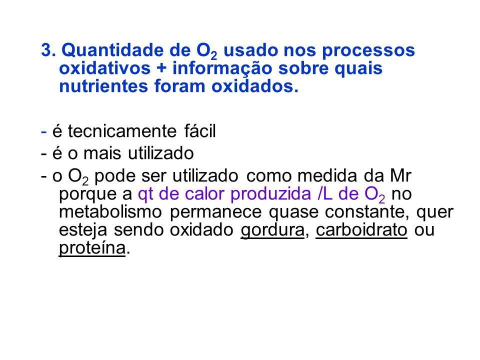 3. Quantidade de O 2 usado nos processos oxidativos + informação sobre quais nutrientes foram oxidados. - é tecnicamente fácil - é o mais utilizado -