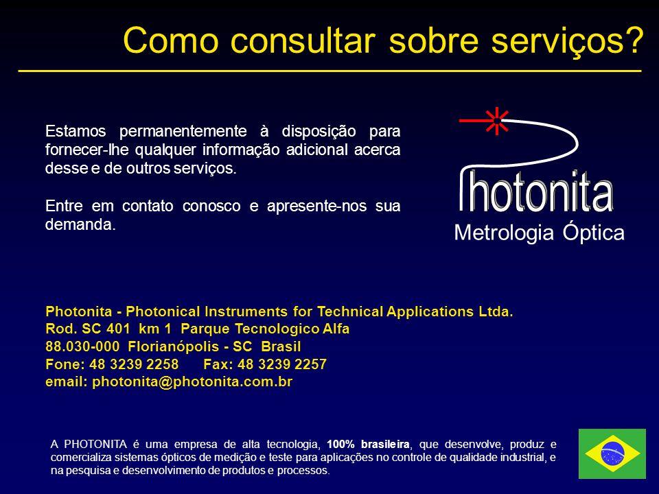 Como consultar sobre serviços? Metrologia Óptica Photonita - Photonical Instruments for Technical Applications Ltda. Rod. SC 401 km 1 Parque Tecnologi