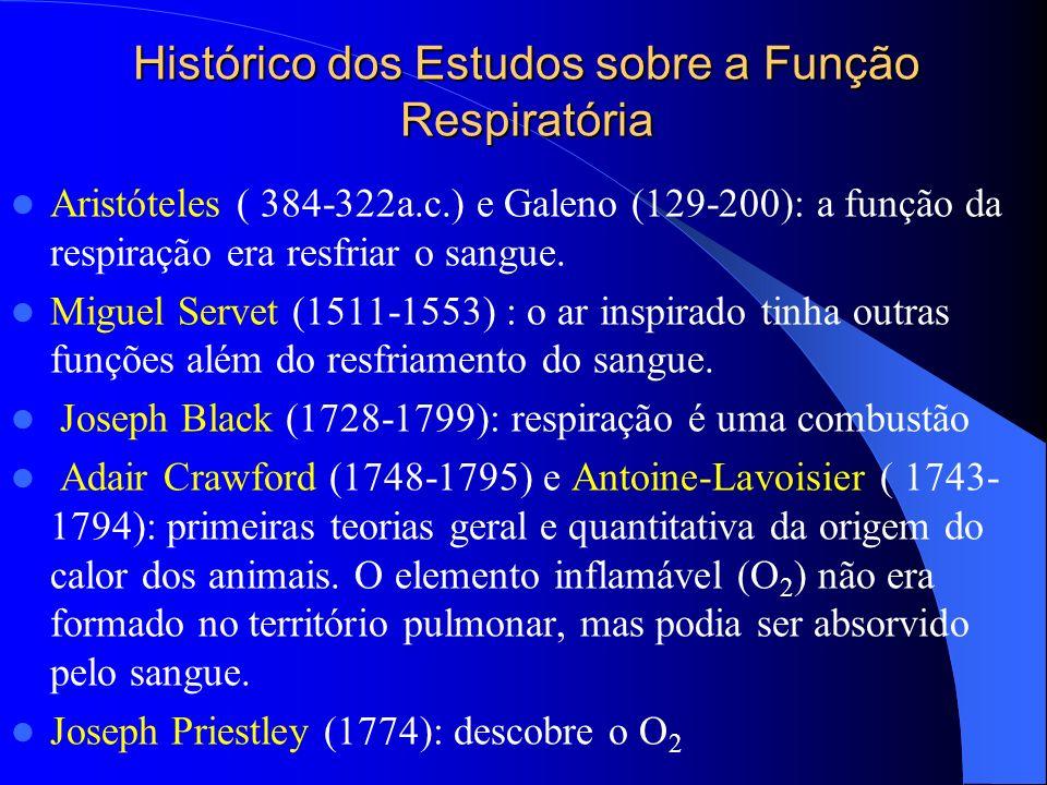 Histórico dos Estudos sobre a Função Respiratória Aristóteles ( 384-322a.c.) e Galeno (129-200): a função da respiração era resfriar o sangue. Miguel