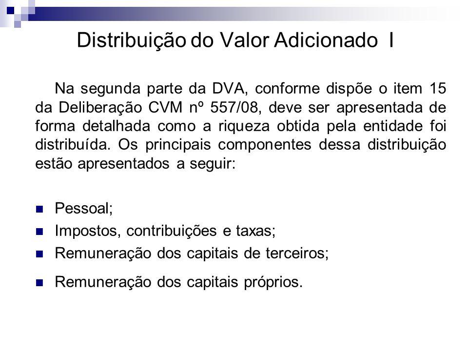 Distribuição do Valor Adicionado I Na segunda parte da DVA, conforme dispõe o item 15 da Deliberação CVM nº 557/08, deve ser apresentada de forma deta