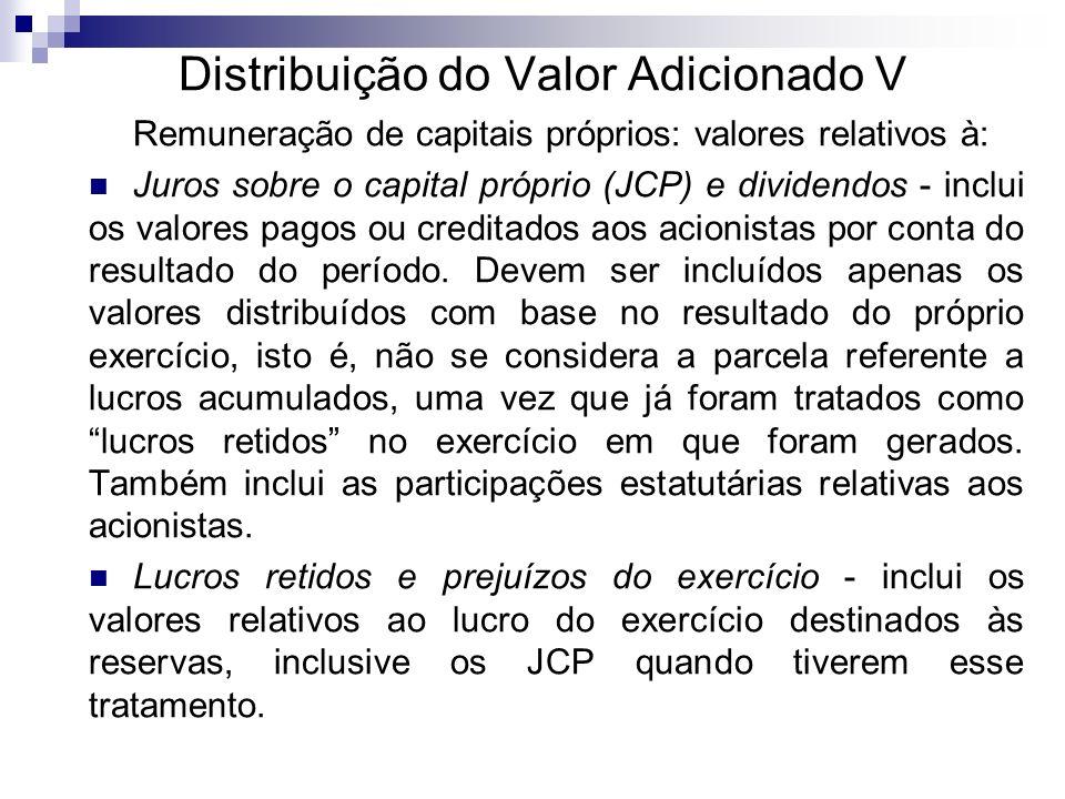 Distribuição do Valor Adicionado V Remuneração de capitais próprios: valores relativos à: Juros sobre o capital próprio (JCP) e dividendos - inclui os