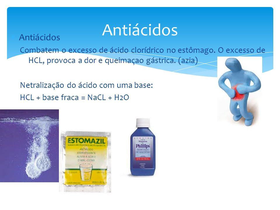 Antiácidos Combatem o excesso de ácido clorídrico no estômago. O excesso de HCL, provoca a dor e queimaçao gástrica. (azia) Netralização do ácido com