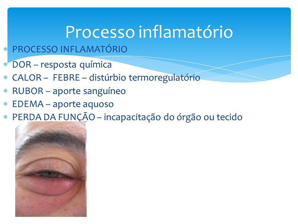 Processo inflamatório PROCESSO INFLAMATÓRIO DOR – resposta química CALOR – FEBRE – distúrbio termoregulatório RUBOR – aporte sanguíneo EDEMA – aporte