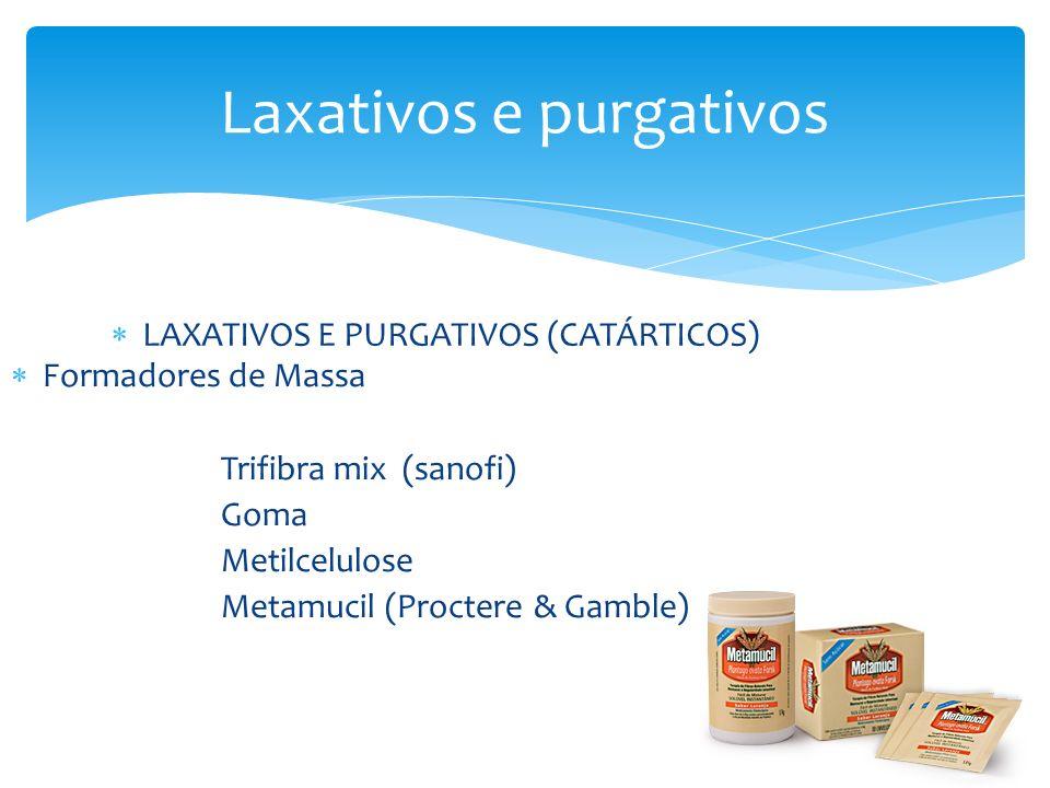 Laxativos e purgativos LAXATIVOS E PURGATIVOS (CATÁRTICOS) Formadores de Massa Trifibra mix (sanofi) Goma Metilcelulose Metamucil (Proctere & Gamble)