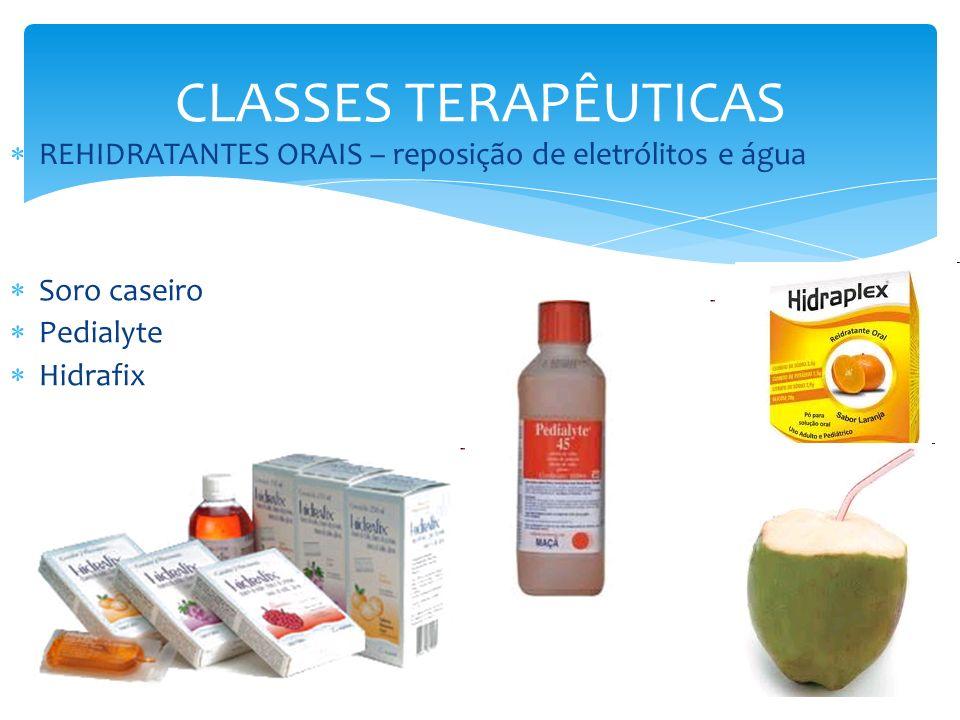 CLASSES TERAPÊUTICAS REHIDRATANTES ORAIS – reposição de eletrólitos e água Soro caseiro Pedialyte Hidrafix
