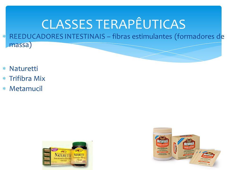 CLASSES TERAPÊUTICAS REEDUCADORES INTESTINAIS – fibras estimulantes (formadores de massa) Naturetti Trifibra Mix Metamucil