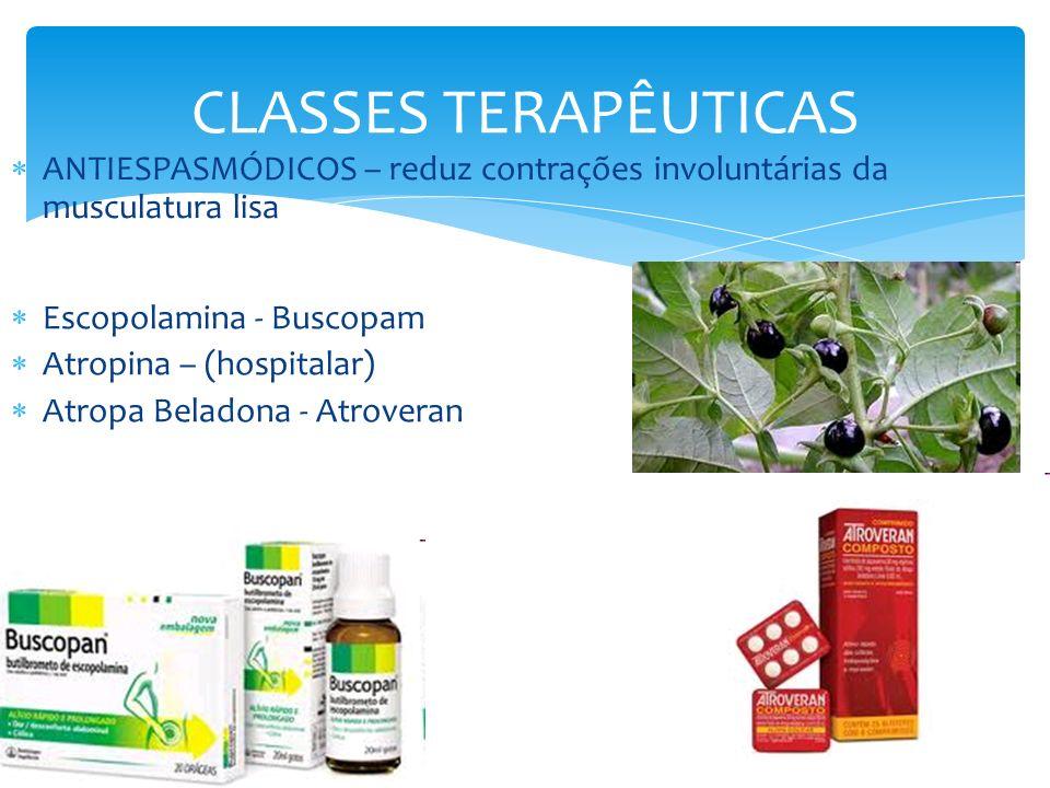 CLASSES TERAPÊUTICAS ANTIESPASMÓDICOS – reduz contrações involuntárias da musculatura lisa Escopolamina - Buscopam Atropina – (hospitalar) Atropa Bela