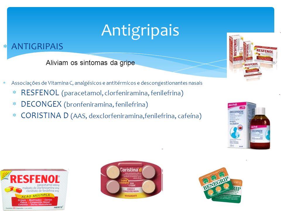 Antigripais ANTIGRIPAIS Associações de Vitamina C, analgésicos e antitérmicos e descongestionantes nasais RESFENOL (paracetamol, clorfeniramina, fenilefrina) DECONGEX (bronfeniramina, fenilefrina) CORISTINA D (AAS, dexclorfeniramina,fenilefrina, cafeína) Aliviam os sintomas da gripe