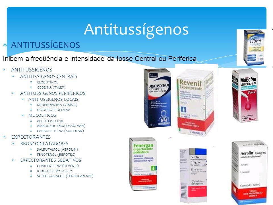 Antitussígenos ANTITUSSÍGENOS ANTITUSSIGENOS ANTITISSIGENOS CENTRAIS CLOBUTINOL CODEINA (TYLEX) ANTITUSSIGENOS PERIFÉRICOS ANTITUSSIGENOS LOCAIS DROPROPIZINA (VIBRAL) LEVODROPROPIZINA MUCOLITICOS ACETILCISTEÍNA AMBROXOL (MUCOSSOLVAN) CARBOCISTEÍNA (MUCOFAN) EXPECTORANTES BRONCODILATADORES SALBUTAMOL (AEROLIN) FENOTEROL (BEROTEC) EXPECTORANTES SEDATIVOS GUAIFENESINA (REVENIL) IODETO DE POTASSIO SULFOGUAIACOL (FENERGAN XPE) Inibem a freqüência e intensidade da tosse Central ou Periférica