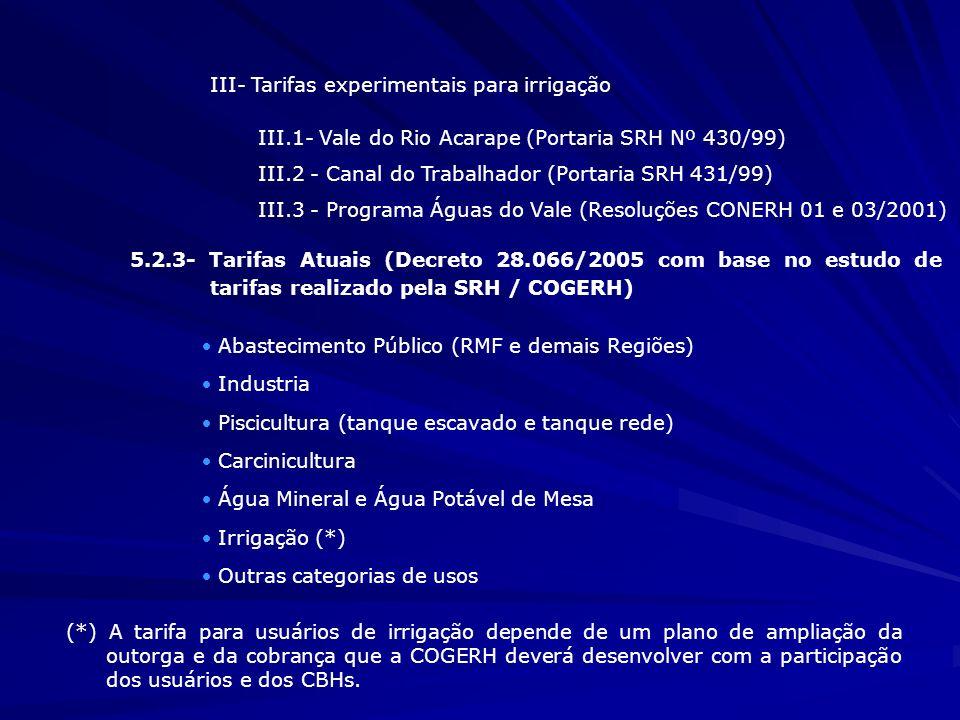 III- Tarifas experimentais para irrigação III.1- Vale do Rio Acarape (Portaria SRH Nº 430/99) III.2 - Canal do Trabalhador (Portaria SRH 431/99) III.3