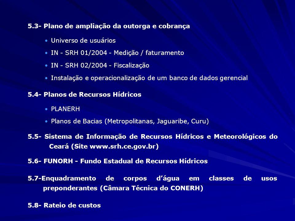 5.3- Plano de ampliação da outorga e cobrança ·Universo de usuários ·IN - SRH 01/2004 - Medição / faturamento ·IN - SRH 02/2004 - Fiscalização ·Instal