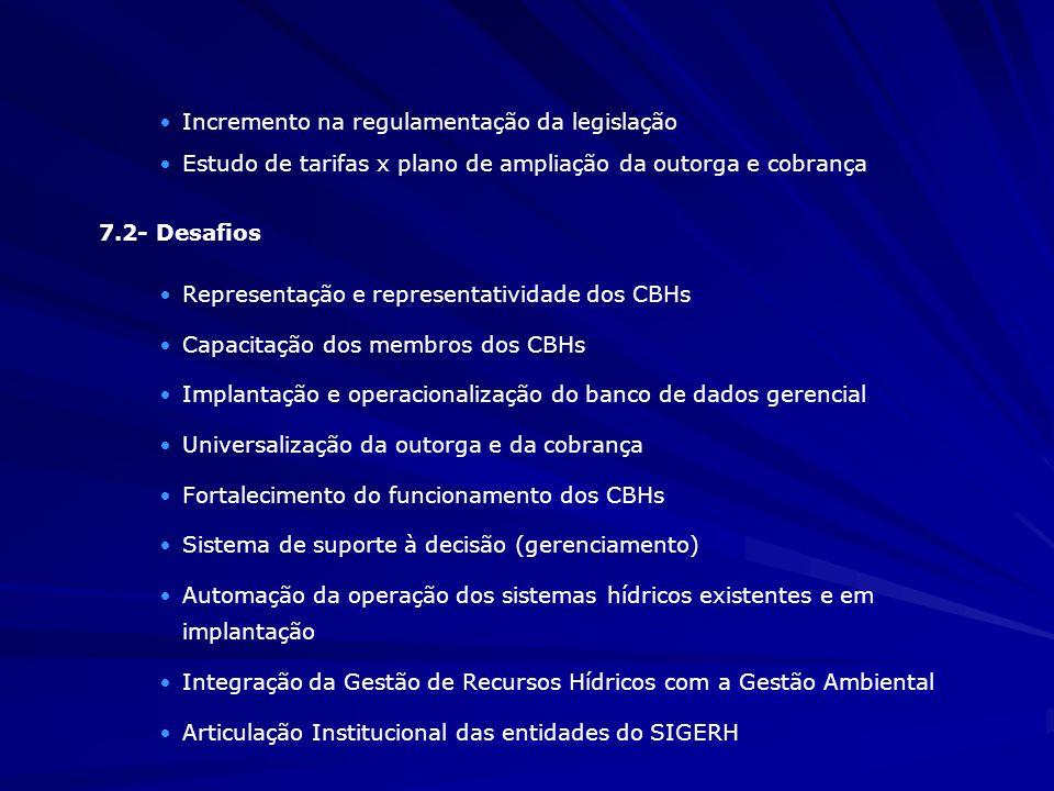 ·Incremento na regulamentação da legislação ·Estudo de tarifas x plano de ampliação da outorga e cobrança 7.2- Desafios ·Representação e representativ