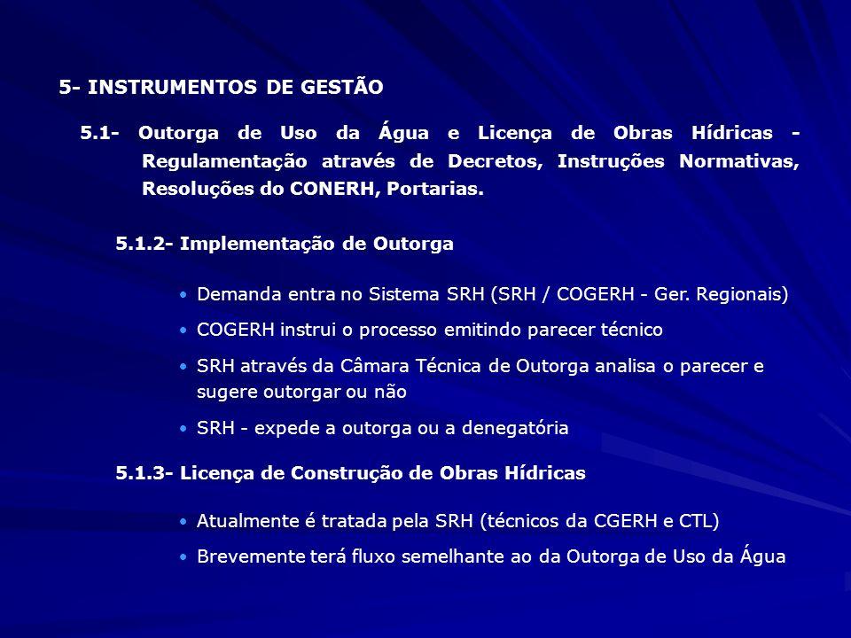5.2- Cobrança Pelo Uso da Água 5.2.1- Aspectos Legais - · Leis (11.996/92;12.664/96); · Decretos (24.264/96; 26.361/2001; 27.271/2003 · Resoluções do CONERH 5.2.2- Aspectos Práticos - I- Negociações Político / Institucionais II- Instituição de Tarifas de Água para as Concessionárias de Água Potável e para a Indústria - Início da cobrança 1/12/96 - Cobrança sobre o volume consumido