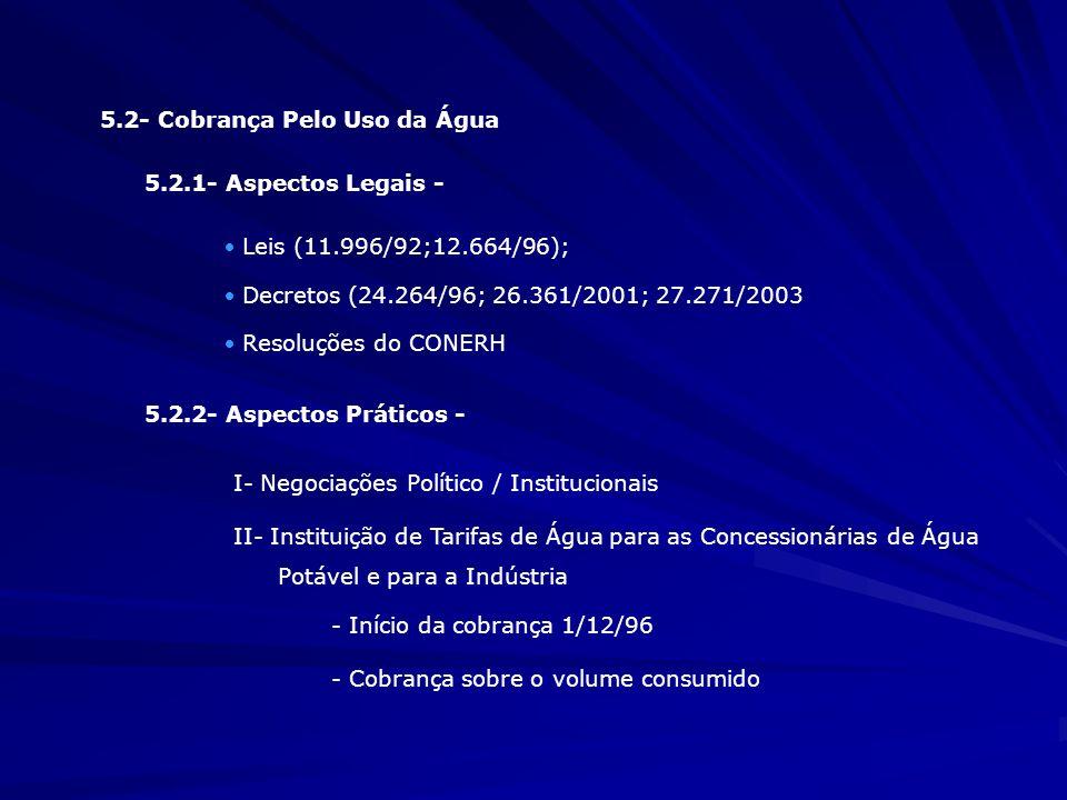 5.2- Cobrança Pelo Uso da Água 5.2.1- Aspectos Legais - · Leis (11.996/92;12.664/96); · Decretos (24.264/96; 26.361/2001; 27.271/2003 · Resoluções do