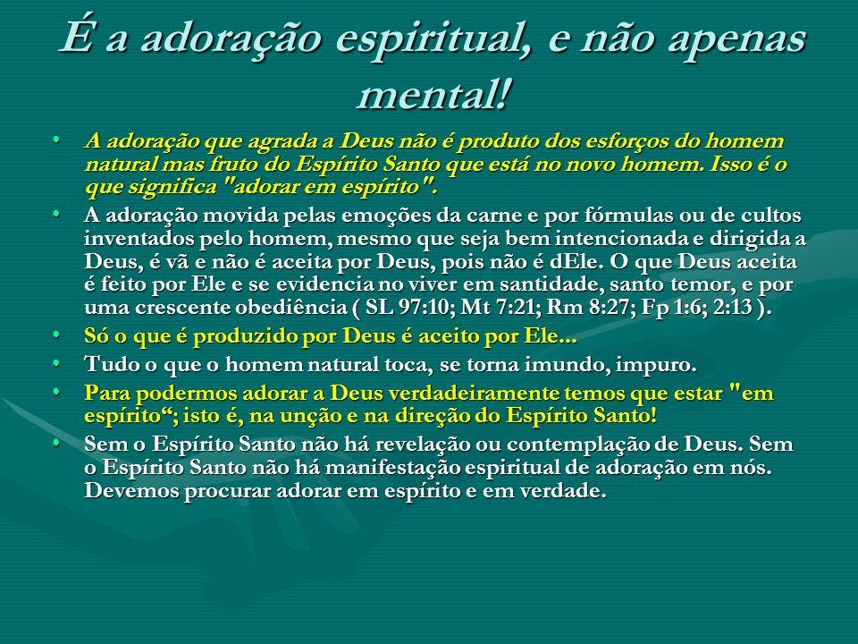 É a adoração espiritual, e não apenas mental! A adoração que agrada a Deus não é produto dos esforços do homem natural mas fruto do Espírito Santo que