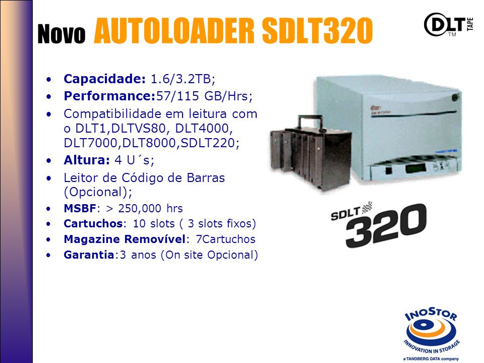 Autoloaders SLR Autoloader SLR 60/100/140 480GB-1.1TB 21GB/hr-43GB/hr* Leitor de Código de Barras. Rackmount 4 Us DLT Autoloader DLT 8000/SDLT 800GB/3