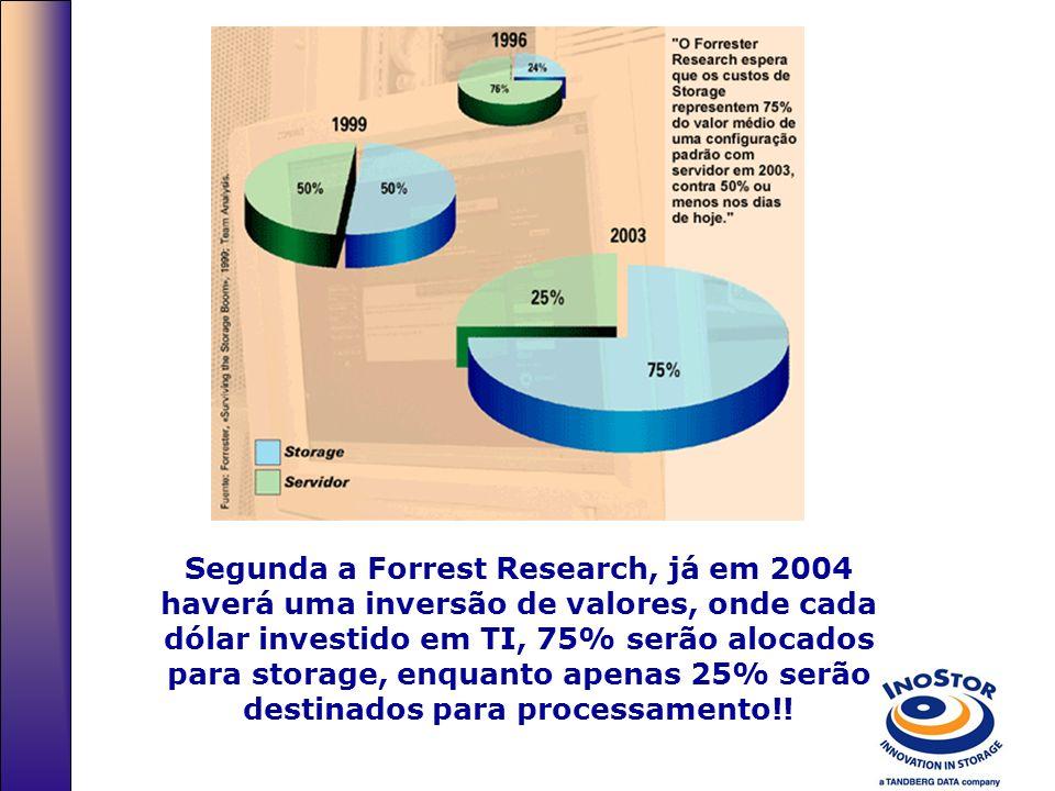 Segunda a Forrest Research, já em 2004 haverá uma inversão de valores, onde cada dólar investido em TI, 75% serão alocados para storage, enquanto apenas 25% serão destinados para processamento!!