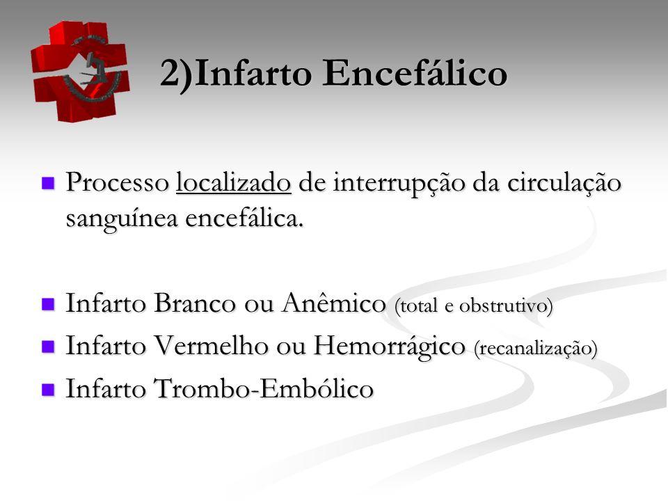 2)Infarto Encefálico Processo localizado de interrupção da circulação sanguínea encefálica. Processo localizado de interrupção da circulação sanguínea