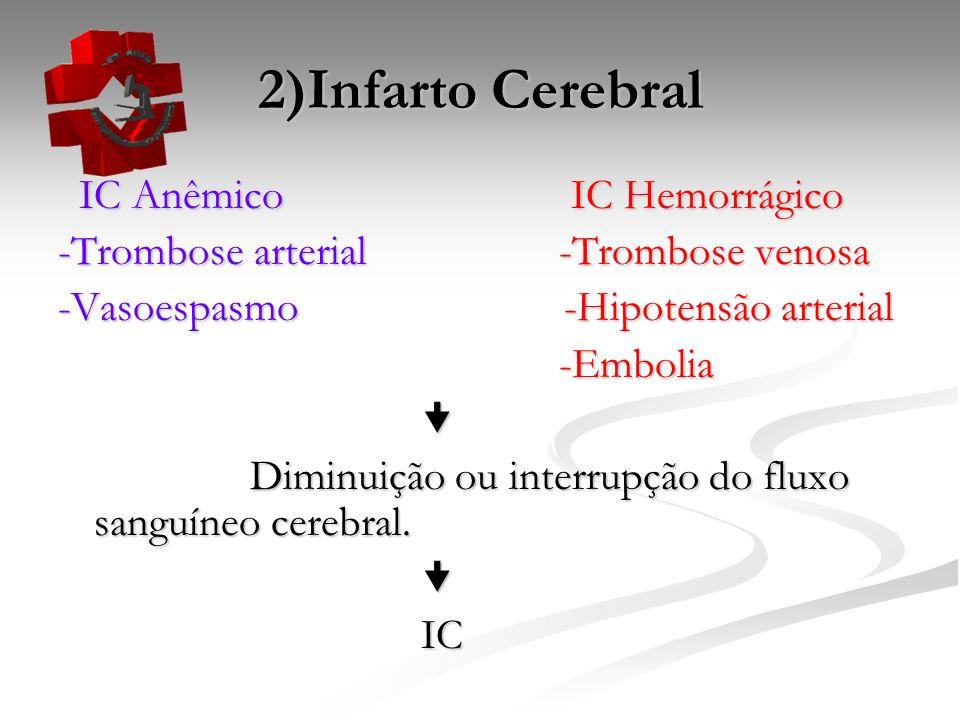 2)Infarto Cerebral IC Anêmico IC Hemorrágico IC Anêmico IC Hemorrágico -Trombose arterial -Trombose venosa -Vasoespasmo -Hipotensão arterial -Embolia