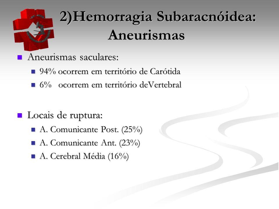 2)Hemorragia Subaracnóidea: Aneurismas 2)Hemorragia Subaracnóidea: Aneurismas Aneurismas saculares: Aneurismas saculares: 94% ocorrem em território de