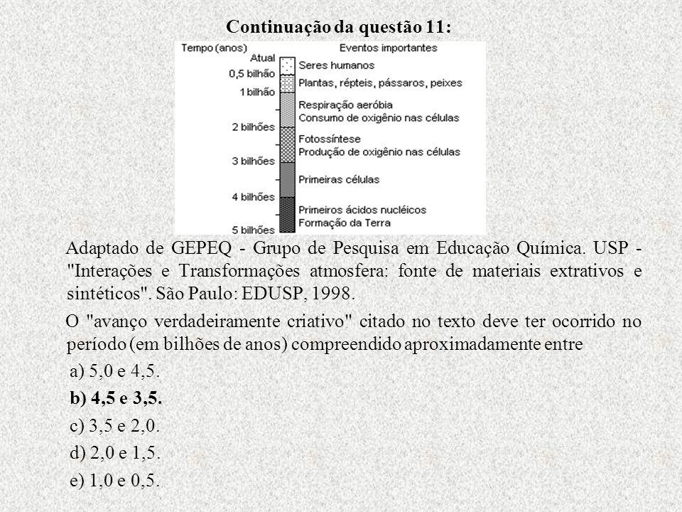Continuação da questão 11: Adaptado de GEPEQ - Grupo de Pesquisa em Educação Química. USP -