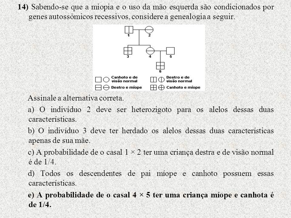 14) Sabendo-se que a miopia e o uso da mão esquerda são condicionados por genes autossômicos recessivos, considere a genealogia a seguir. Assinale a a