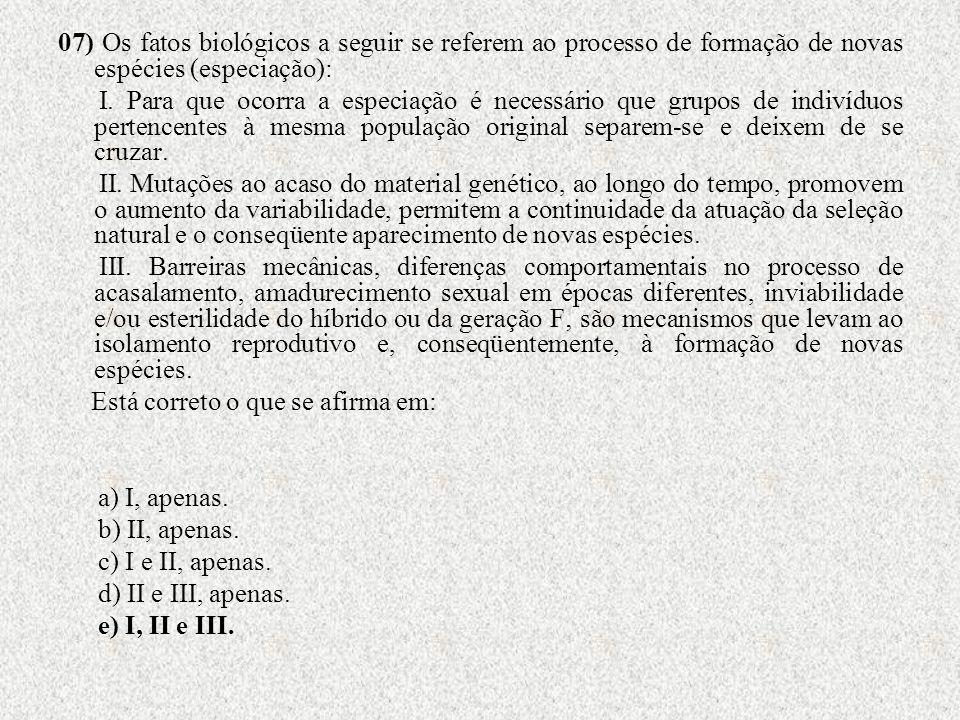07) Os fatos biológicos a seguir se referem ao processo de formação de novas espécies (especiação): I. Para que ocorra a especiação é necessário que g