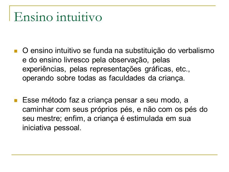 Ensino intuitivo O ensino intuitivo se funda na substituição do verbalismo e do ensino livresco pela observação, pelas experiências, pelas representaç
