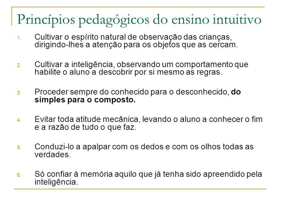 Princípios pedagógicos do ensino intuitivo 1. Cultivar o espírito natural de observação das crianças, dirigindo-lhes a atenção para os objetos que as