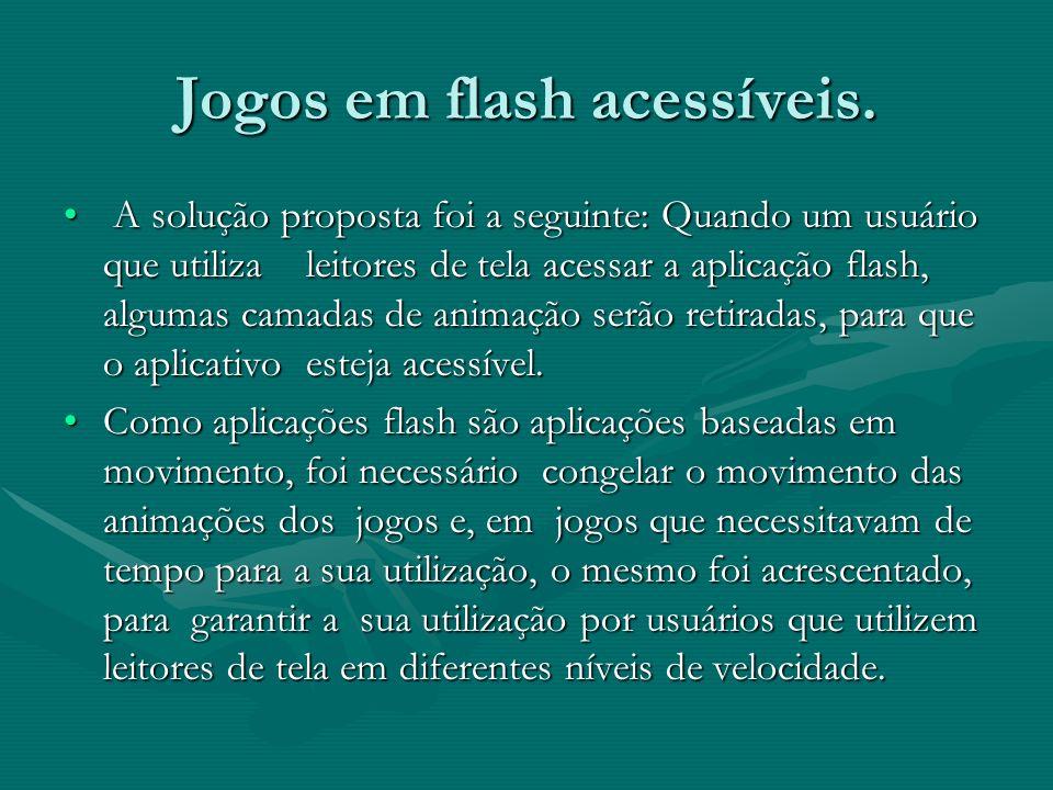 A solução proposta foi a seguinte: Quando um usuário que utiliza leitores de tela acessar a aplicação flash, algumas camadas de animação serão retirad