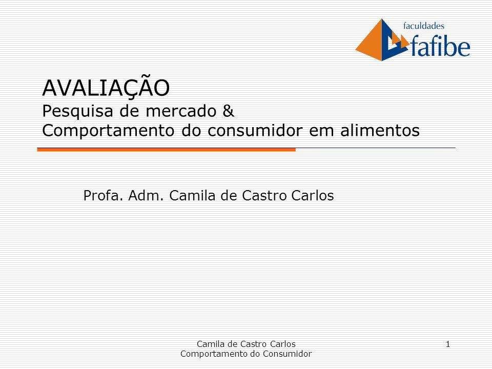 1 AVALIAÇÃO Pesquisa de mercado & Comportamento do consumidor em alimentos Profa. Adm. Camila de Castro Carlos Camila de Castro Carlos Comportamento d
