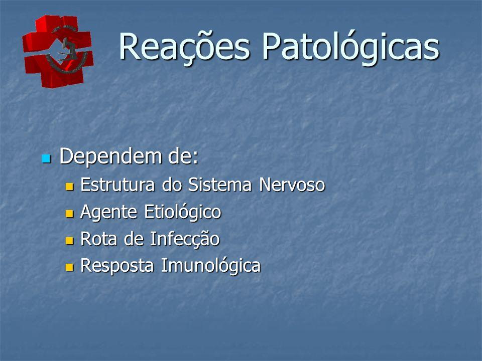 Reações Patológicas Reações Patológicas Dependem de: Dependem de: Estrutura do Sistema Nervoso Estrutura do Sistema Nervoso Agente Etiológico Agente E