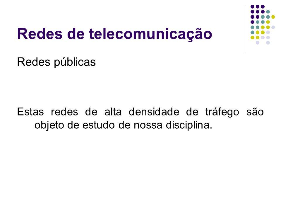 Redes de telecomunicação Redes públicas Estas redes de alta densidade de tráfego são objeto de estudo de nossa disciplina.