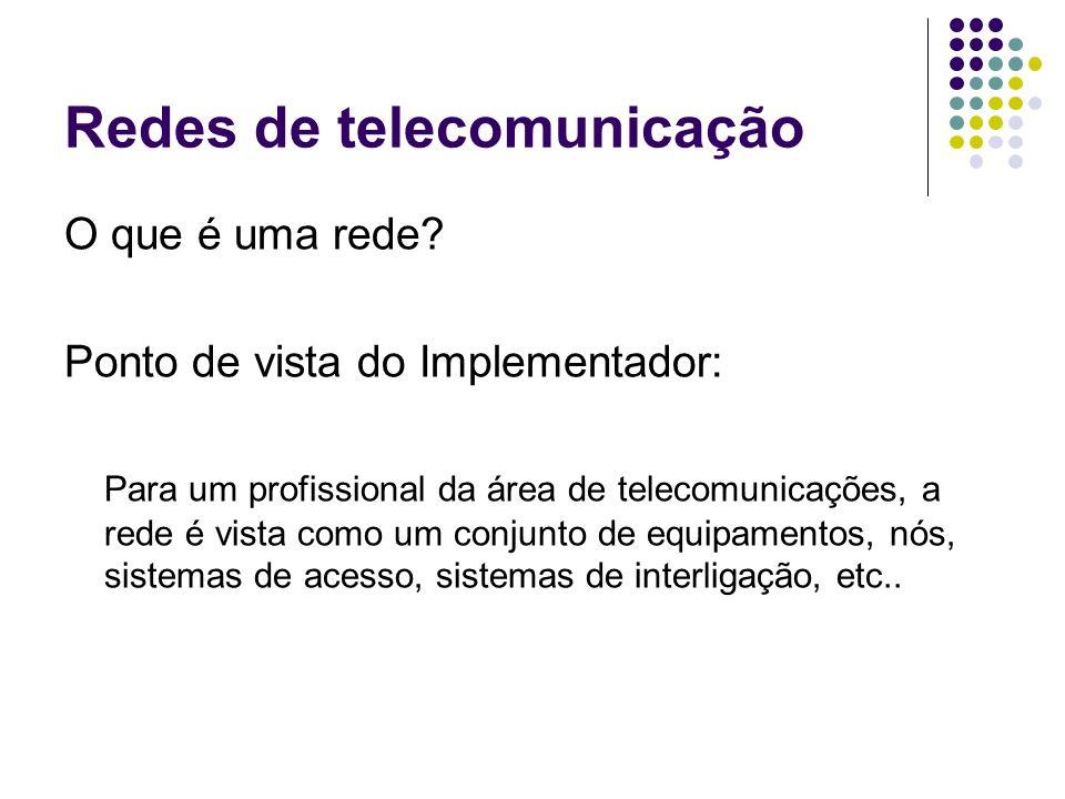 Redes de telecomunicação O que é uma rede? Ponto de vista do Implementador: Para um profissional da área de telecomunicações, a rede é vista como um c