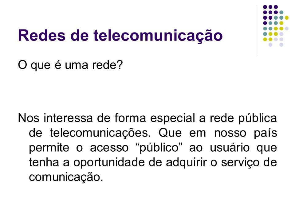 Redes de telecomunicação O que é uma rede? Nos interessa de forma especial a rede pública de telecomunicações. Que em nosso país permite o acesso públ