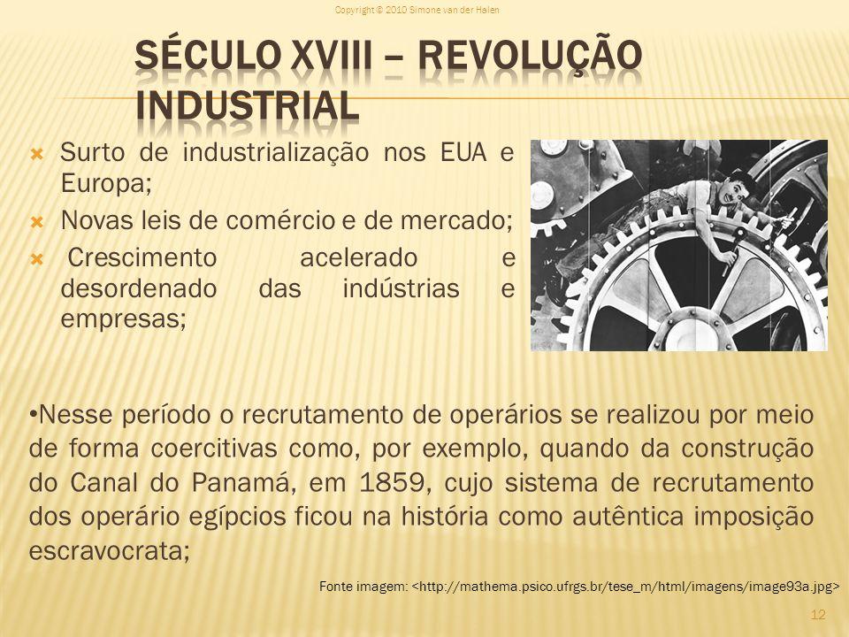 Surto de industrialização nos EUA e Europa; Novas leis de comércio e de mercado; Crescimento acelerado e desordenado das indústrias e empresas; Copyri